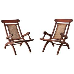 Plantation Style Chairs Hammock Chair Pair Of Mahogany Campaign Folding For Sale