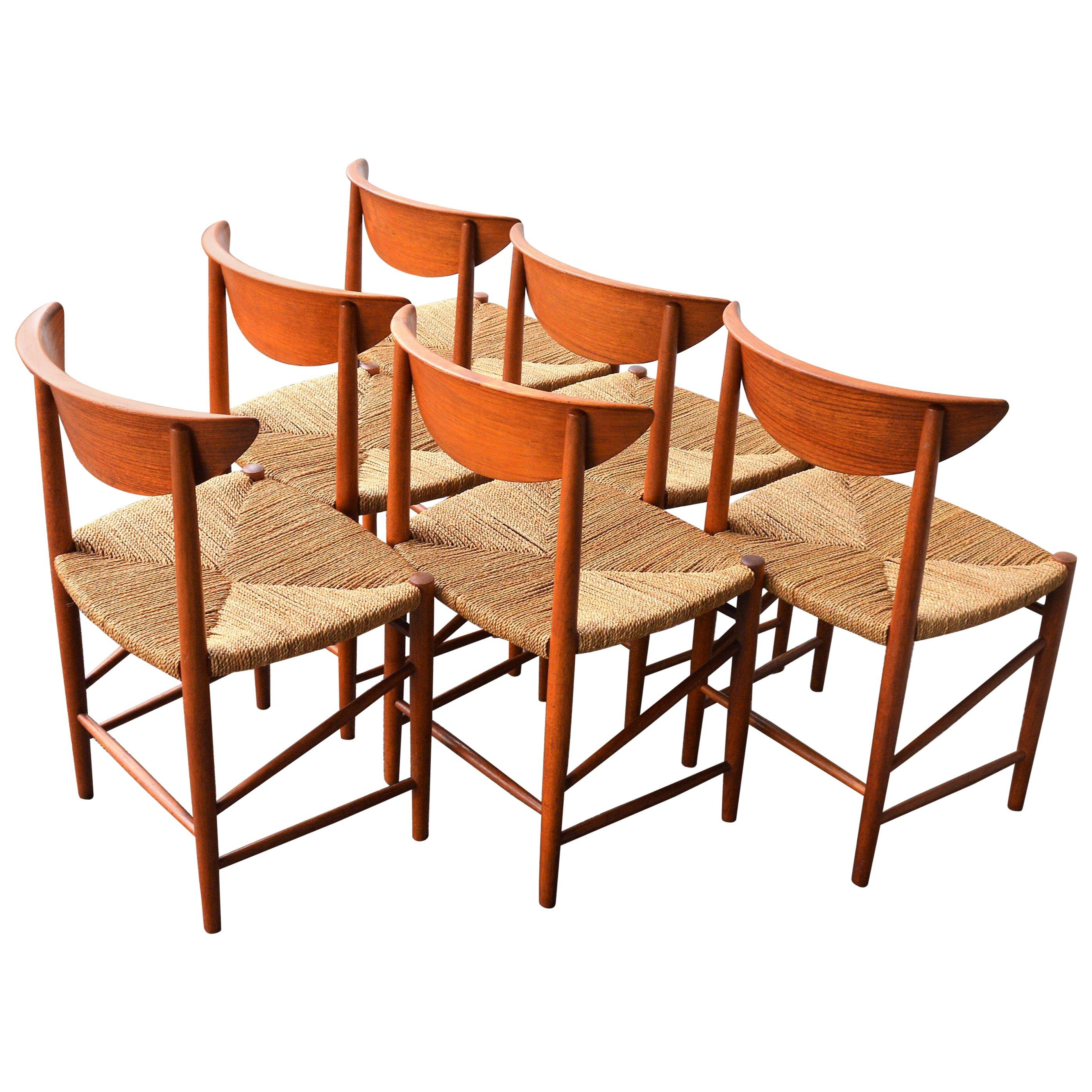 Seagrass Dining Chair Set Of Six Teak Hvidt Mølgaard Model 316 Dining Chairs With Seagrass Seats