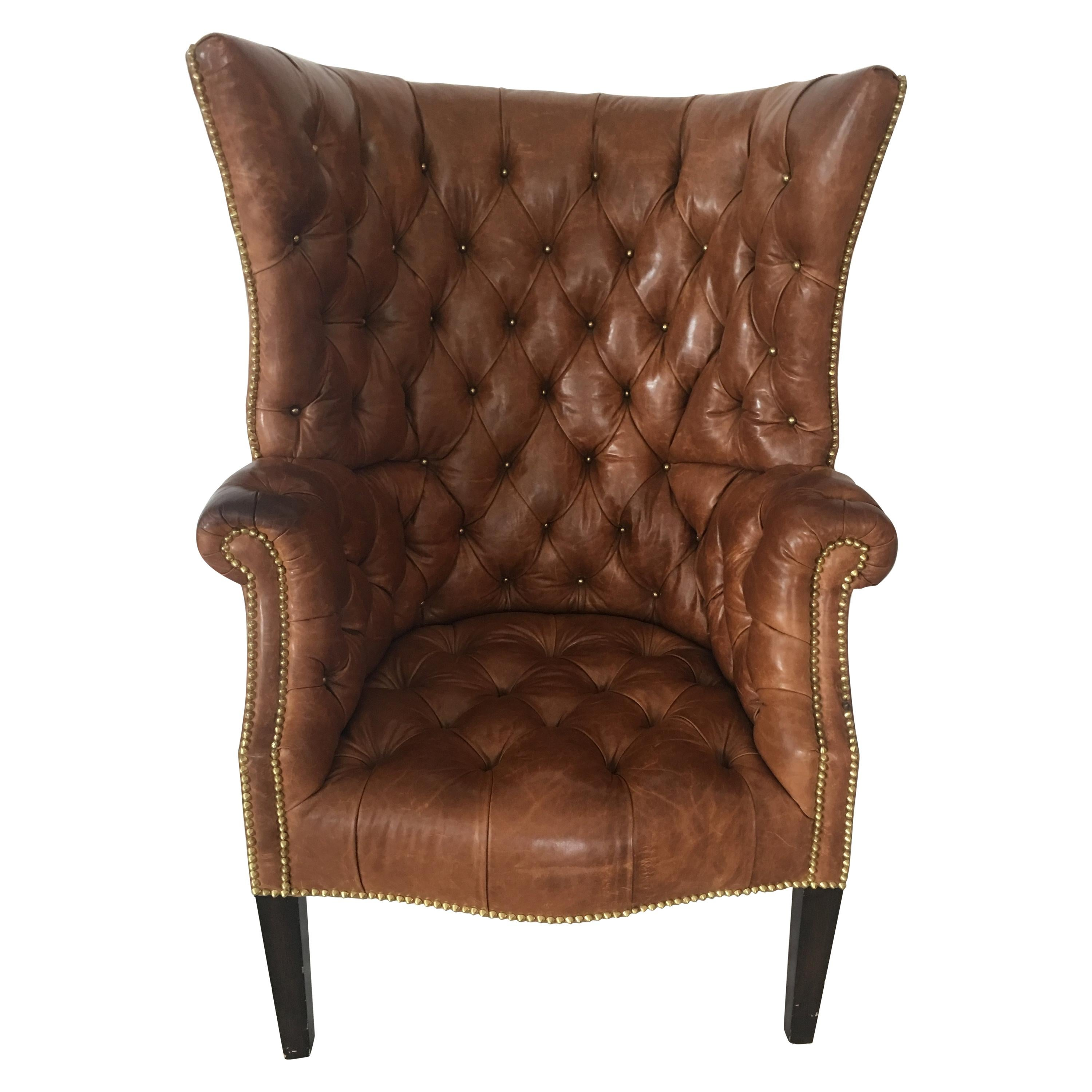 High Back Tufted Leather Chair For Sale at 1stdibs