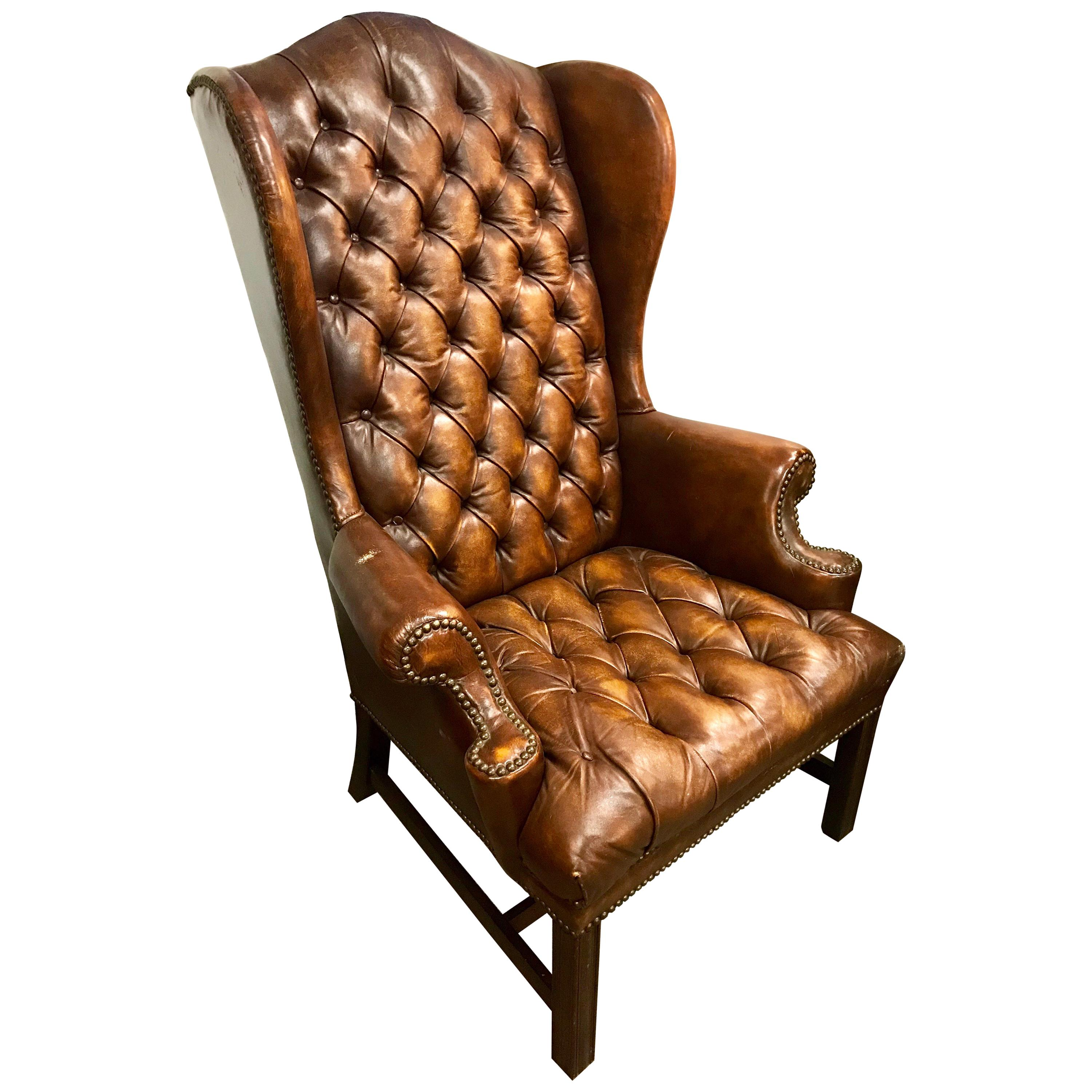 Wingback Tufted Chair English Brown Leather Tufted Chesterfield Wingback Chair