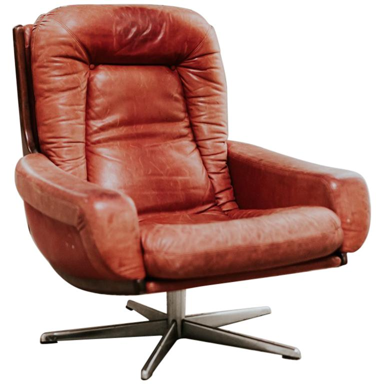 Red Leather Swivel Chair Midcentury Design Red Leather Swivel Armchair
