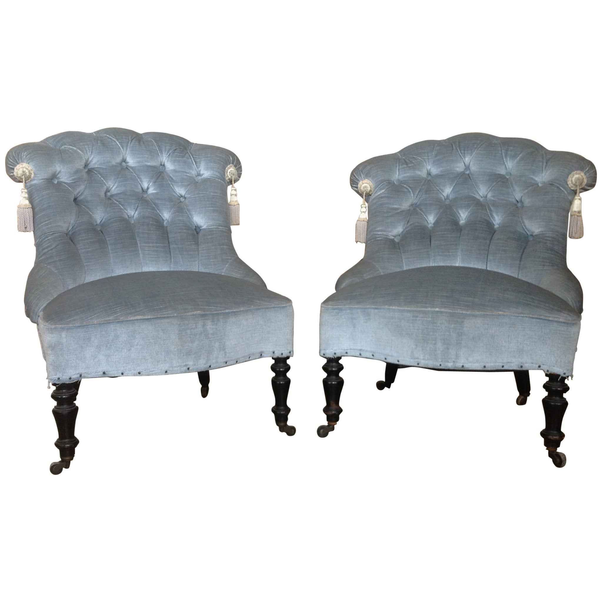 Blue Slipper Chair French Pair Of Napoleon Iii Tufted Blue Slipper Chairs