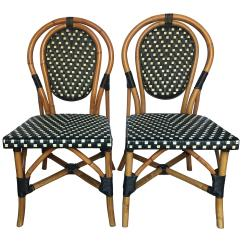 Parisian Cafe Table And Chairs Barcelona Chair Mies Van Der Rohe French Style Bistro Rattan Dining Set Of Two For Sale
