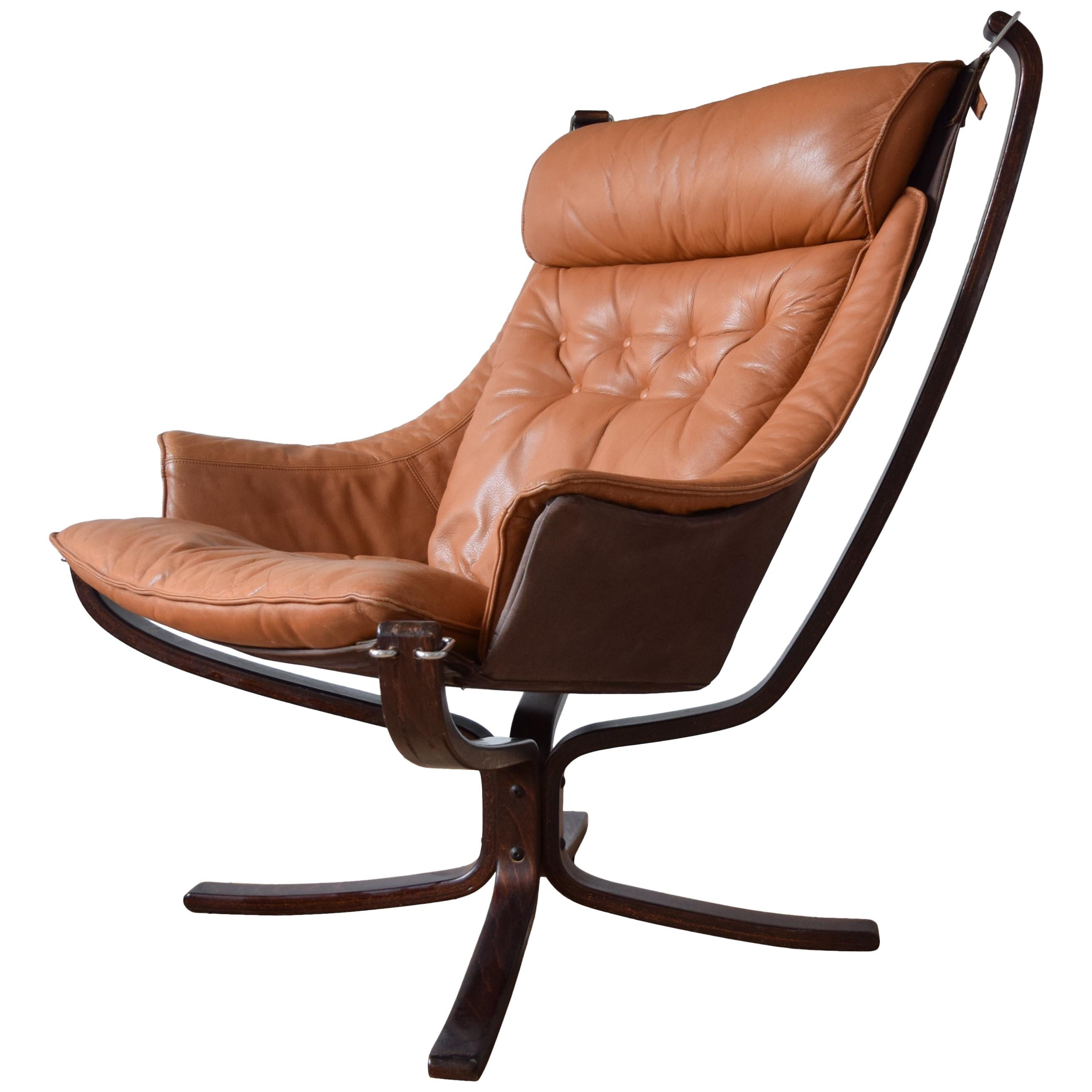 Falcon Chair Sigurd Ressel Cognac Winged Falcon Chair From Vatne Møbler