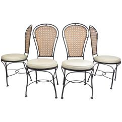 Wrought Iron Dining Chairs Evolve High Chair Set Of Four Midcentury With A Cane Backrest For Sale