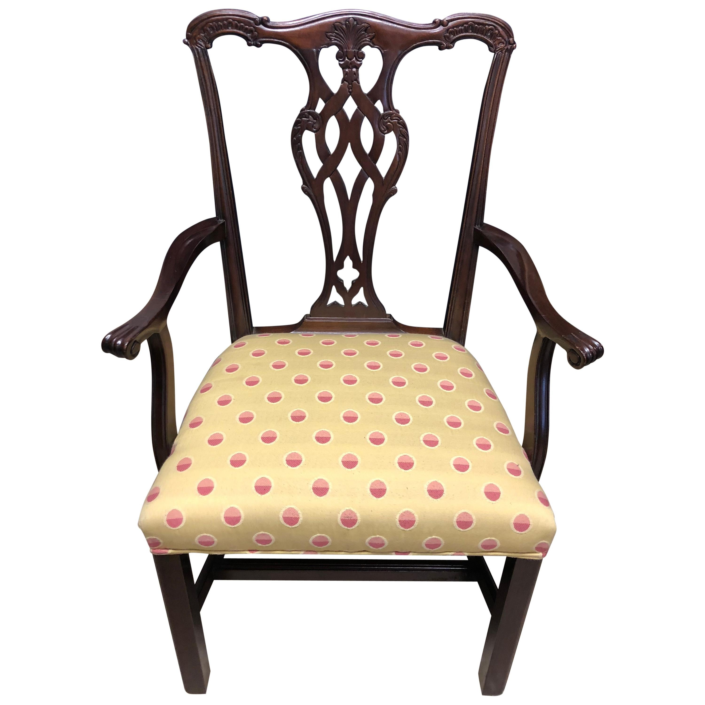 chippendale dining chair with arm table set of 8 chairs 20th century solid mahogany fabric seats for