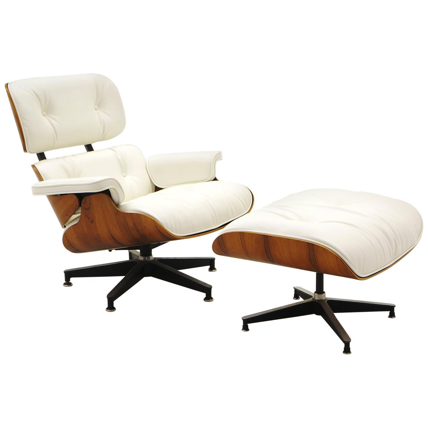 Eanes Chair Lounge Chair And Ottoman Charles Ray Eames Brazilian Rosewood White Leather
