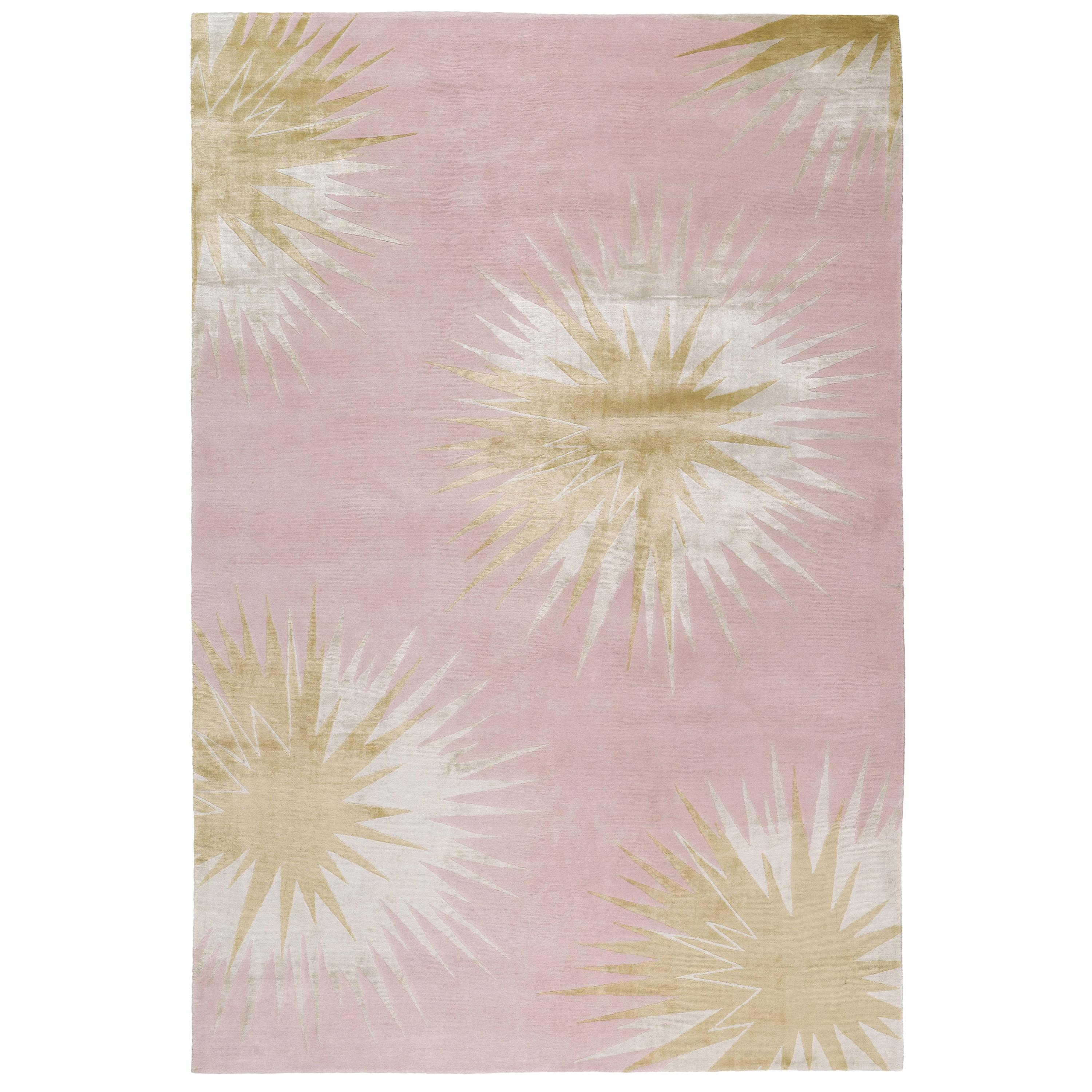 Thistle Gold Hand Knotted 12x9 Rug in Wool and Silk by