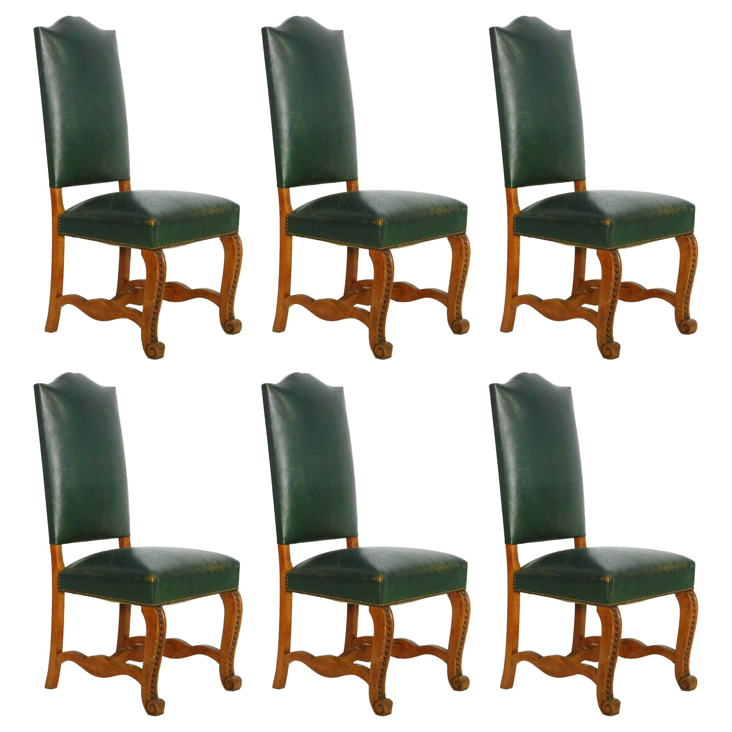 Studded Dining Chairs Six Dining Chairs Green Leather Upholstered French Circa 1920