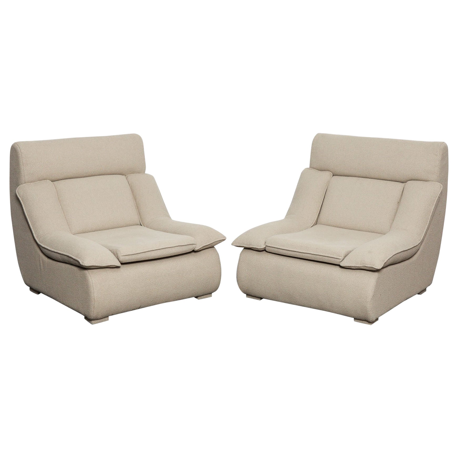 Plush Chairs Futuristic Pair Of Plush Upholstered Brazilian Midcentury Lounge Chairs