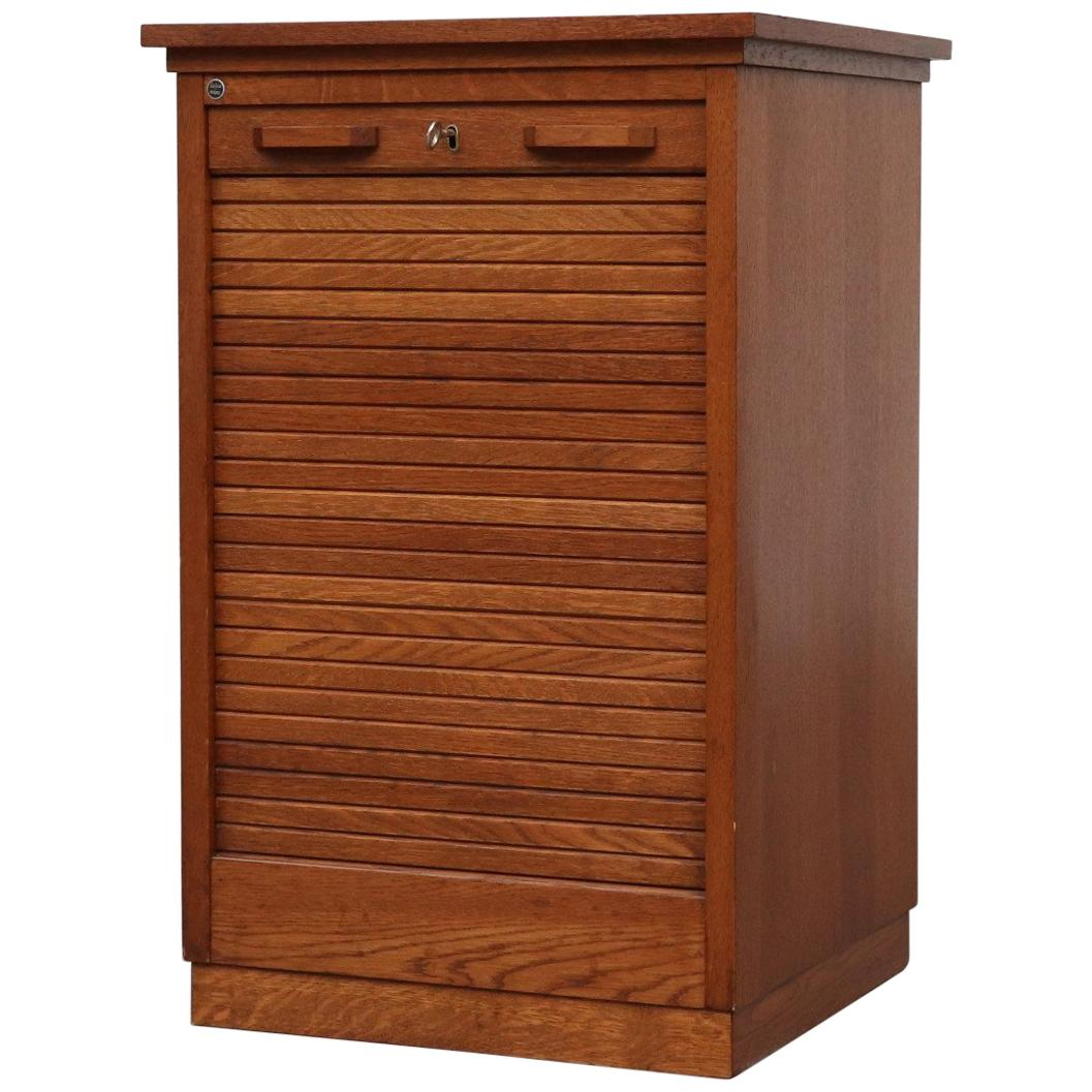 Short Oak File Cabinet by Eeka with Tambour Door For Sale