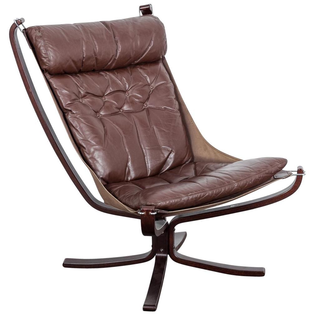 Falcon Chair Brown Leather Falcon Chair By Sigurd Ressel For Vatne Mobler Norway 1960s