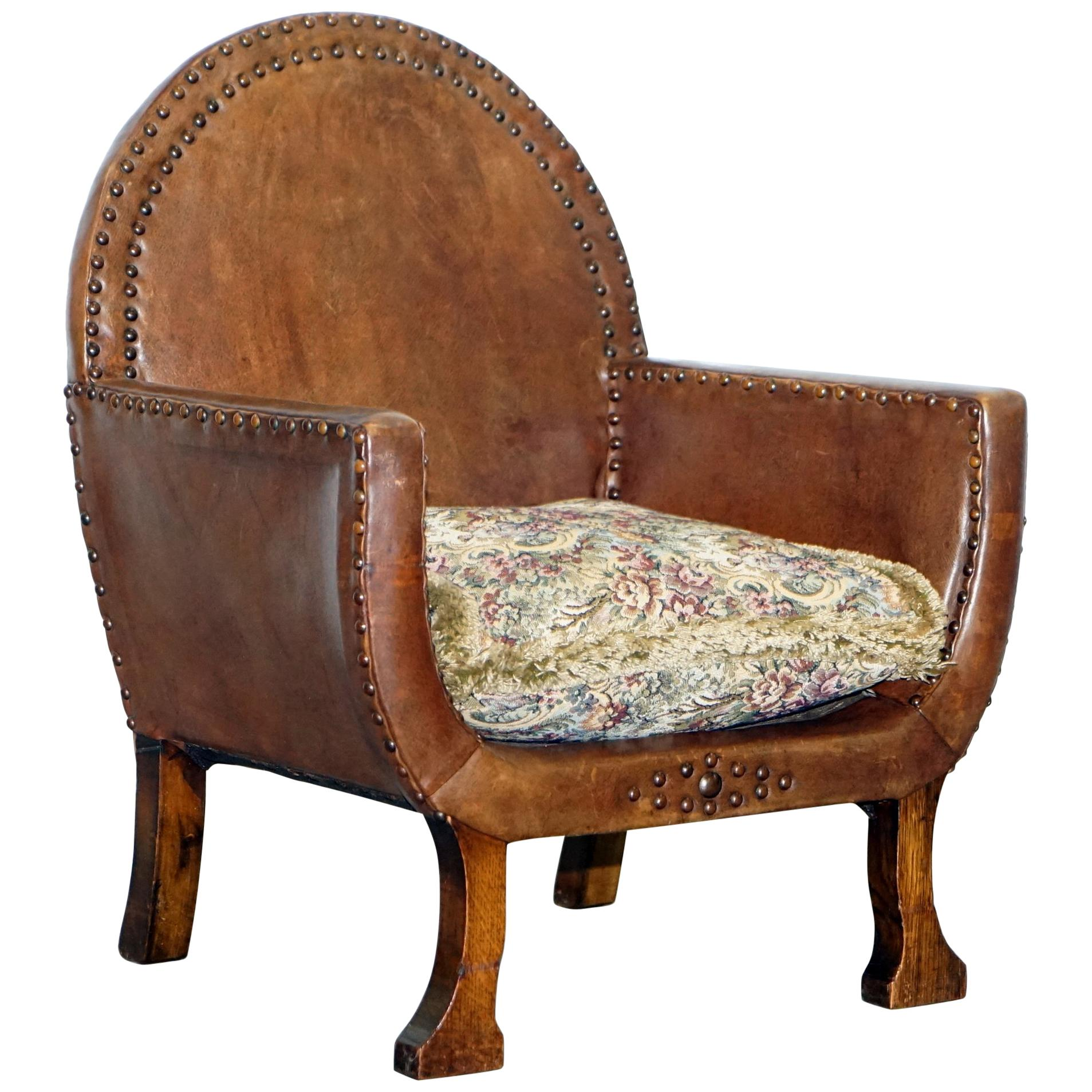 Small Club Chair Small Original Edwardian Leather And Oak Children S Club Armchair Hand Studded