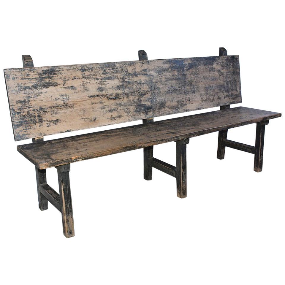 vintage rustic farm bench