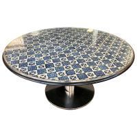 Custom Large Round Spanish Mosaic Tile Top Dining Table ...