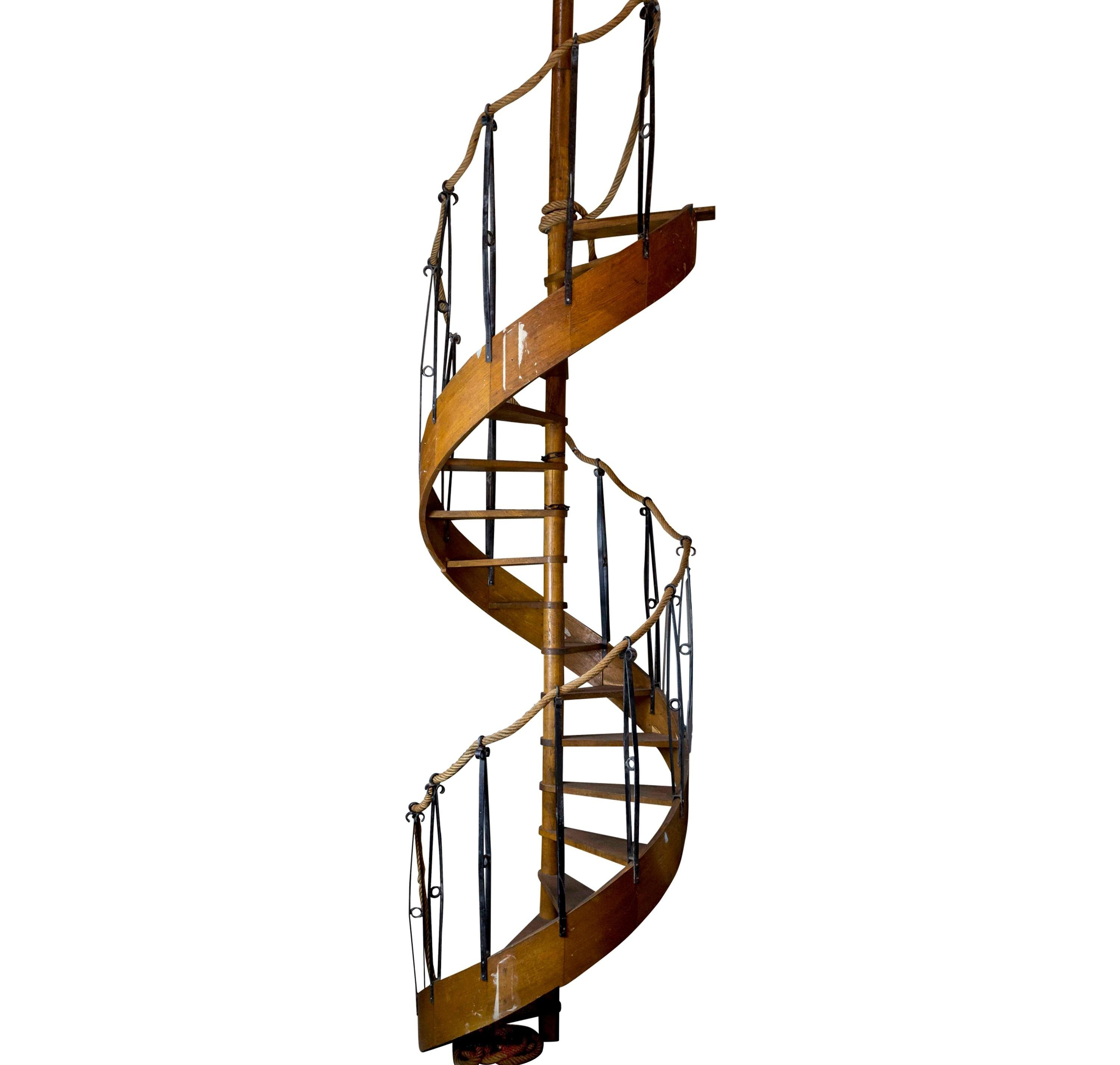 1930S Wood Spiral Staircase With Wrought Iron Balusters And Rope | Wooden Staircases For Sale | Cheap | Steel | Landing | House | New Model