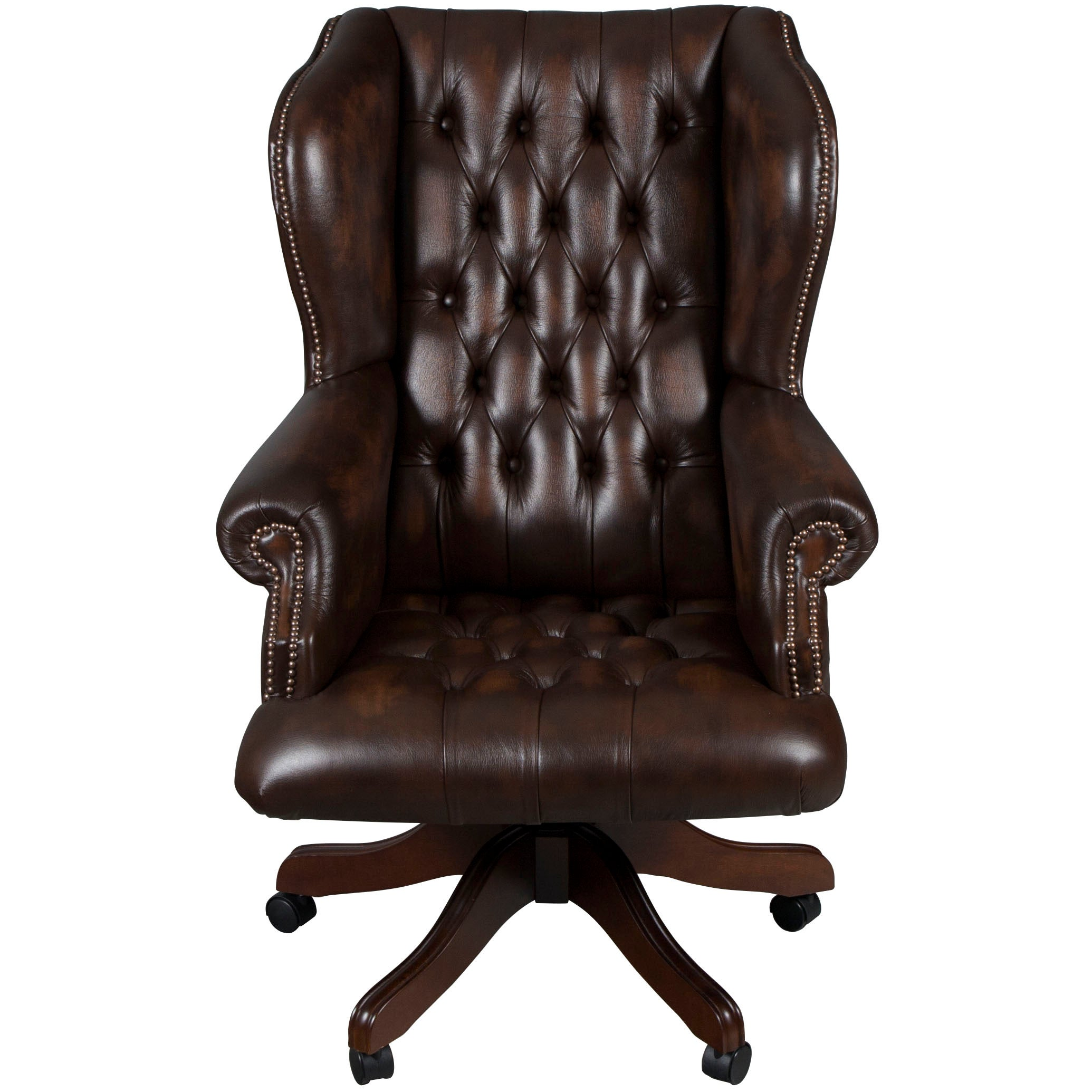 Tufted Leather Office Chair Large Tufted Brown Leather Desk Chair