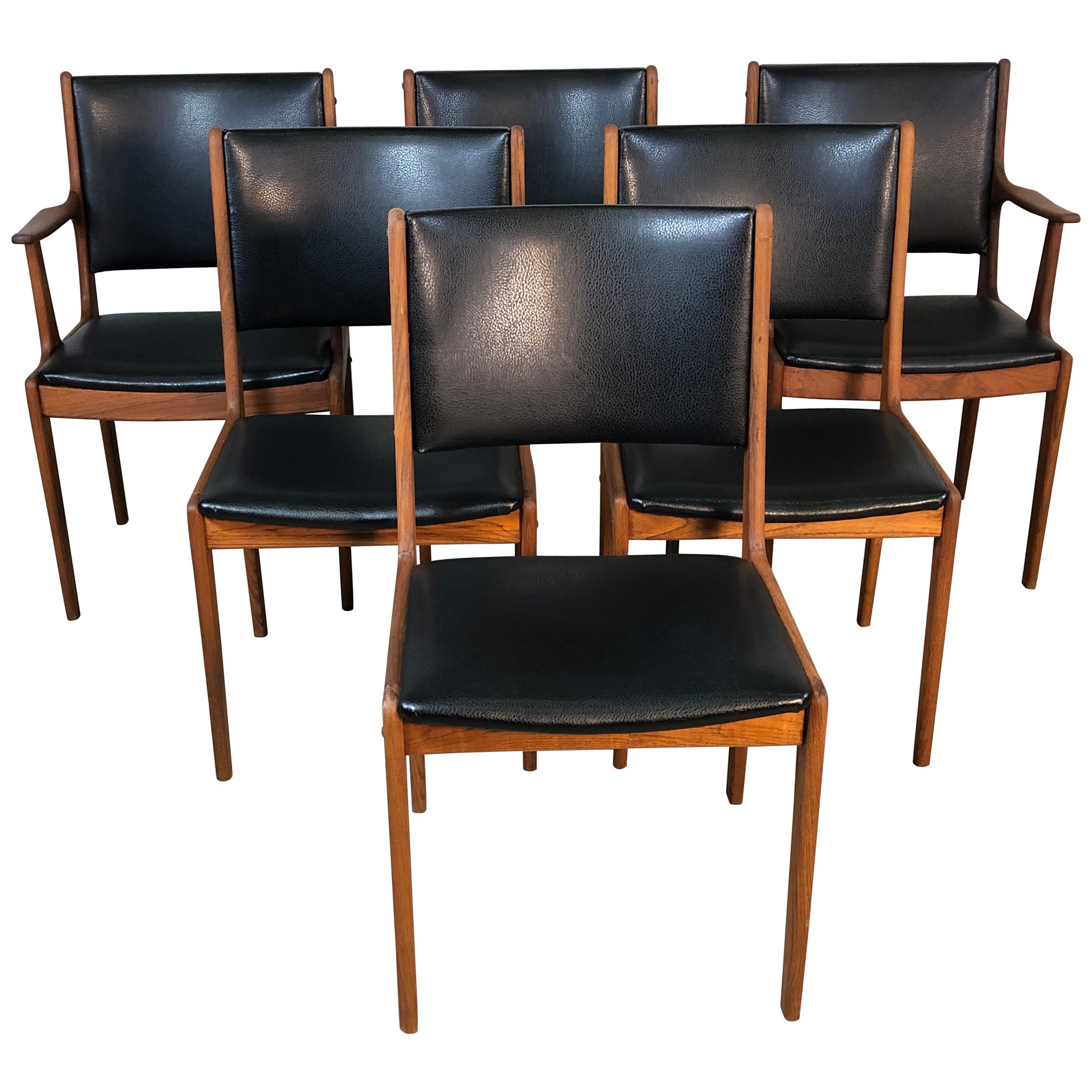 Dining Chair Set Of 6 1960s Danish Teak Dining Chairs Set Of 6