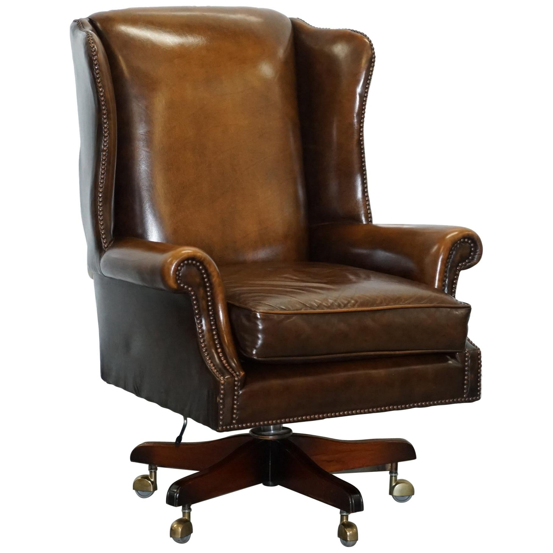 Brown Leather Chairs Vintage Harrods London Oversized Brown Leather Wingback Office Captains Chair