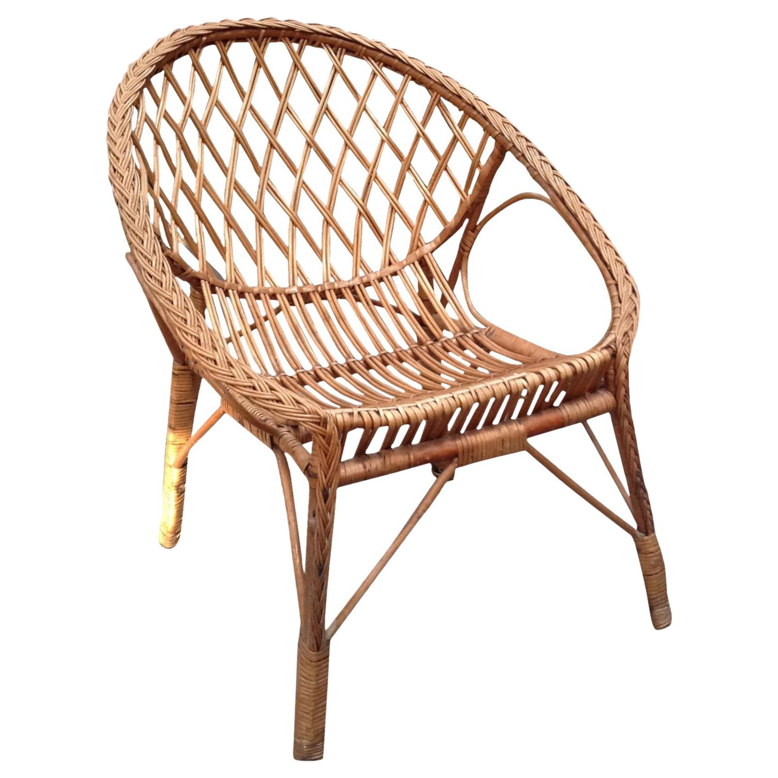 Vintage Rattan Chair Vintage European Rattan Chair