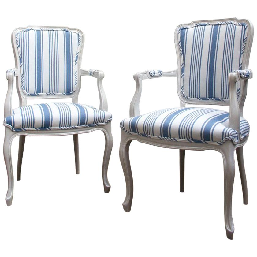 Blue And White Striped Chair 1960s Blue And White Striped Vintage Armchairs