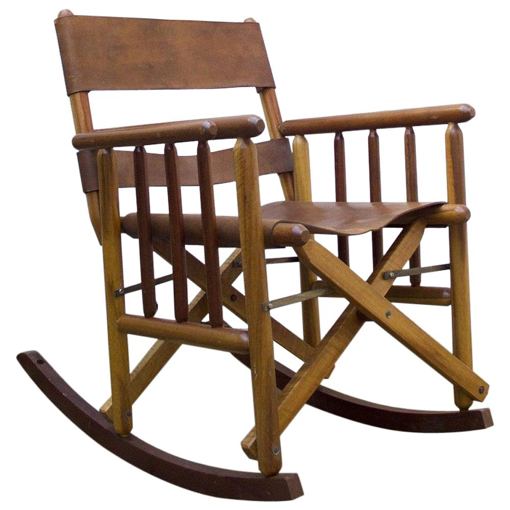 Leather And Wood Chair Vintage Folding Leather And Wood Rocking Chair