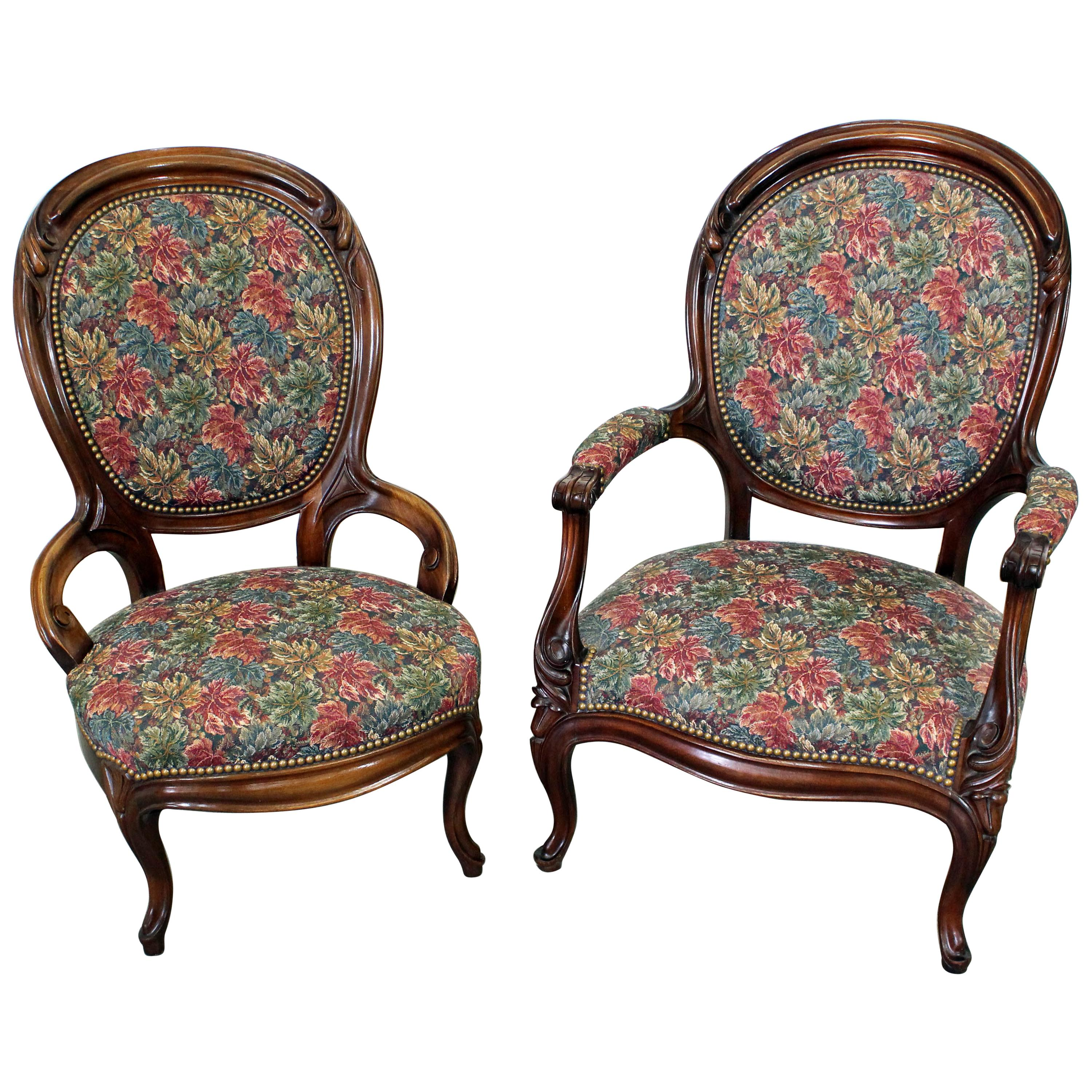 Antique Parlor Chairs Pair Of Vintage Victorian Parlor Set Ladies And Gentleman Chairs