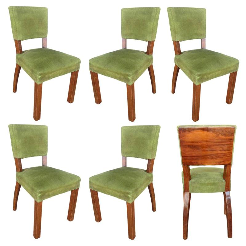 Chair Coverings French Art Deco Walnut Dining Chair Set Of Six