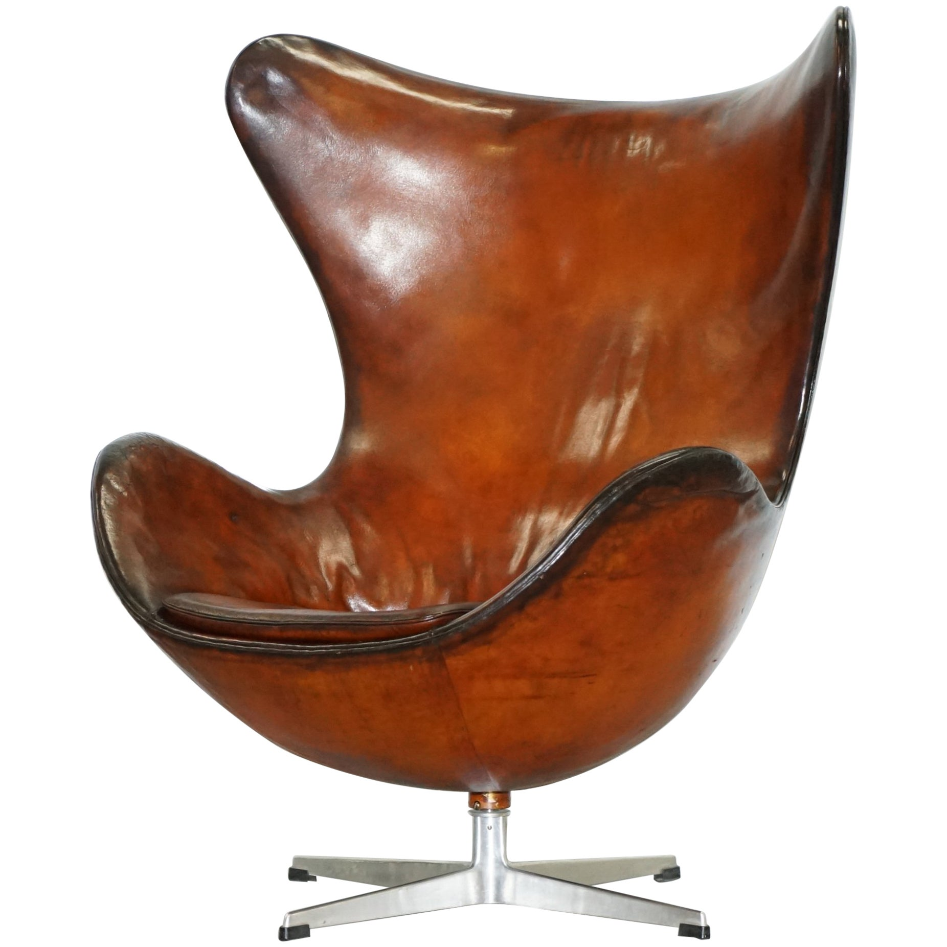 Egg Chair For Sale Original 1963 Fritz Hansen Egg Chair Model Number 3316 Hand Dyed Brown Leather