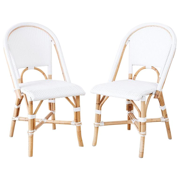 White Bistro Chairs Serena And Lily Bamboo Riviera Rattan French Bistro Chairs
