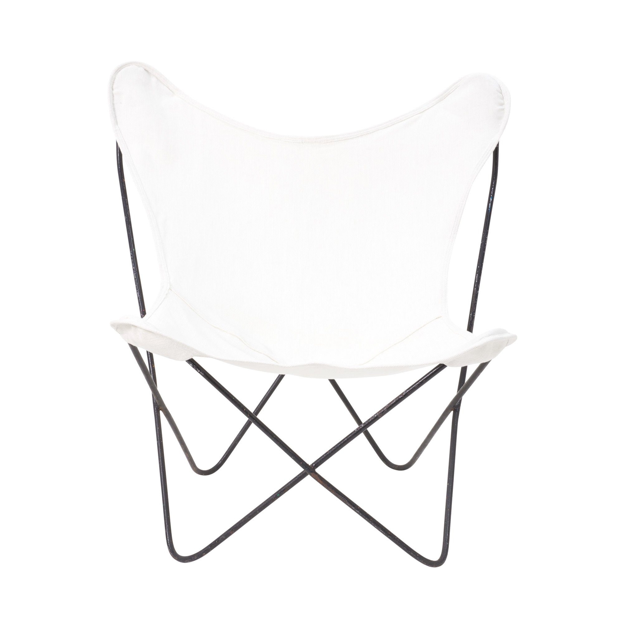 Butterfly Folding Chair Vintage Butterfly Chair In White Fabric With Metal Frame