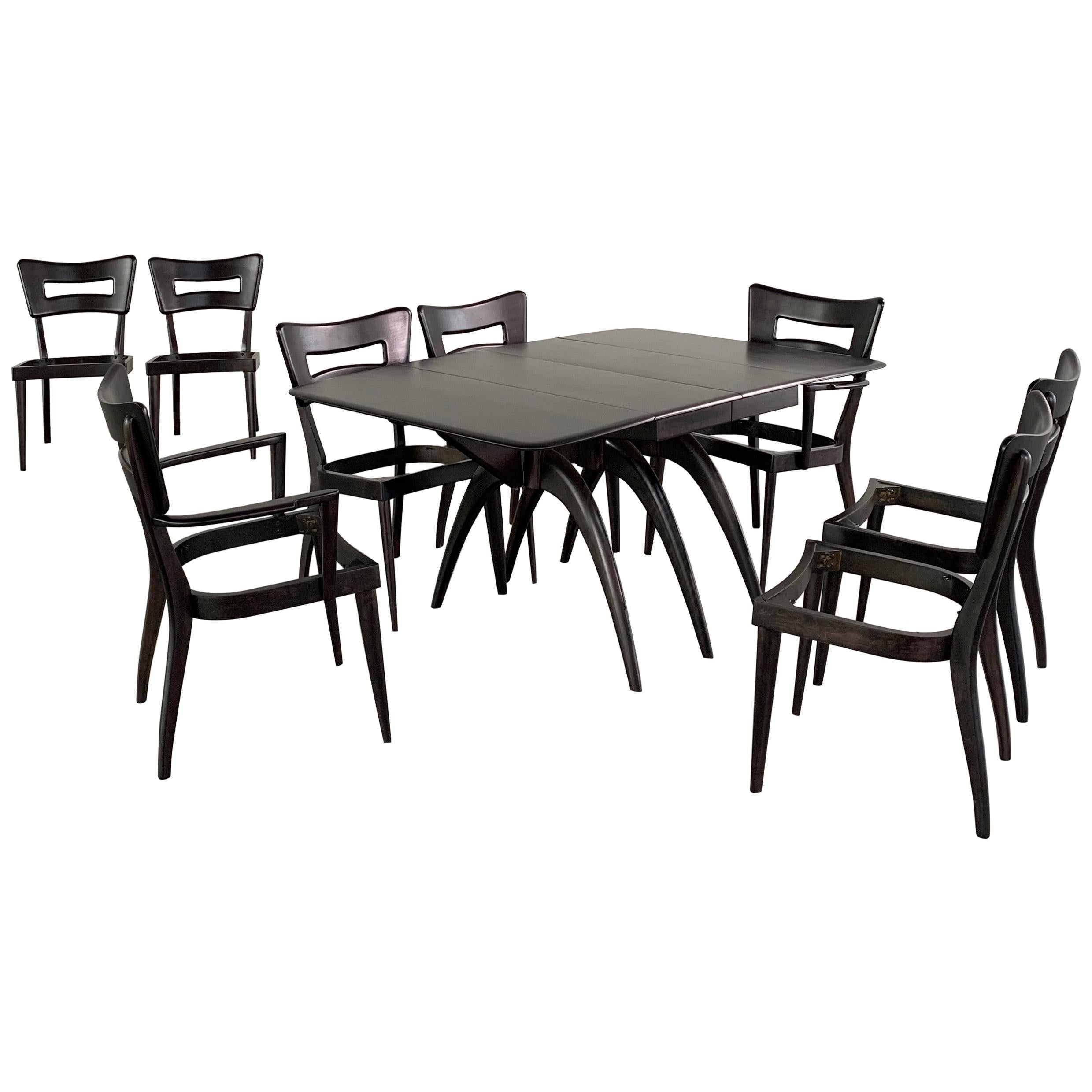 Wishbone Dining Chair Heywood Wakefield Ebonized Wishbone Dogbone Dining Room Set For Eight