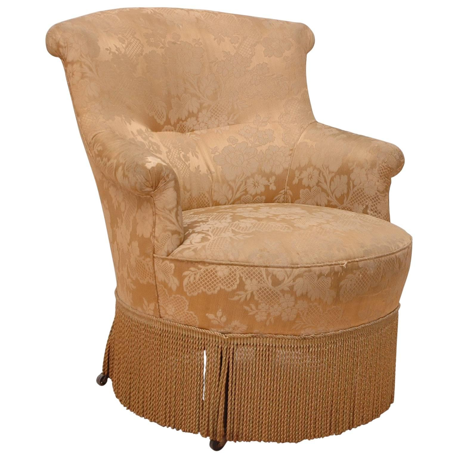 brown slipper chair computer chairs on sale 19th century french napoleon iii upholstered armchair or for