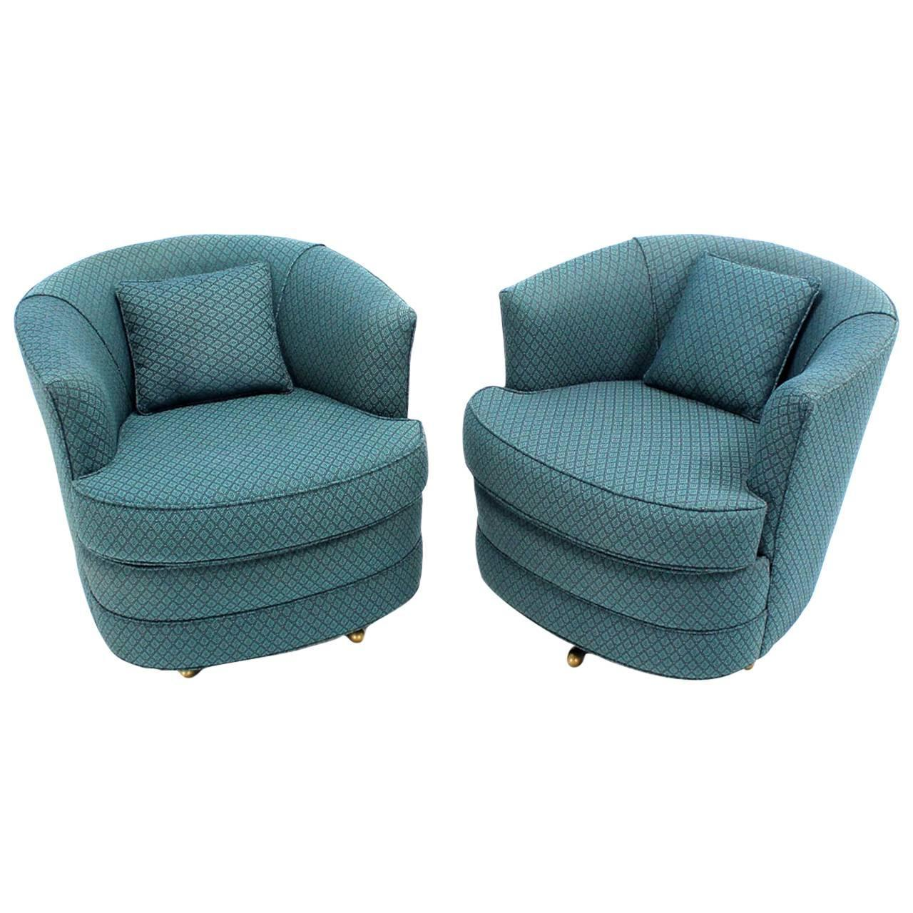 leather swivel barrel chair seagrass arm pair of lounge chairs for sale at 1stdibs
