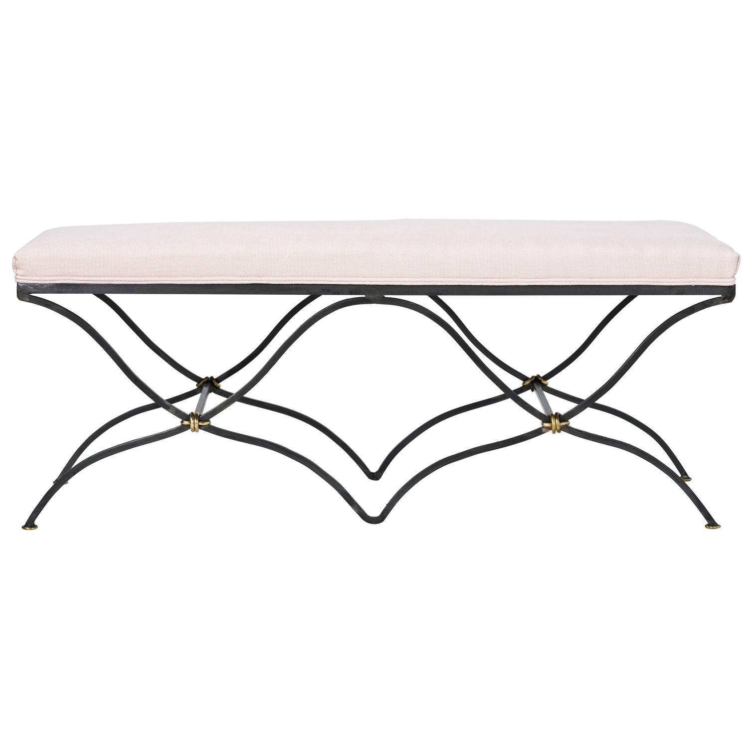 Hand forged Iron Two Seat Belgian Linen Bench For Sale at