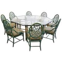 Set of Six Gothic Style Rattan Chairs by McGuire at 1stdibs