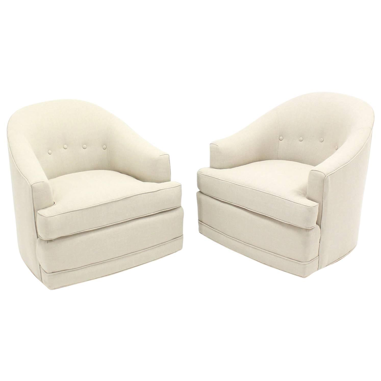 Barrel Swivel Chair Pair Of Barrel Back Swivel Chairs For Sale At 1stdibs