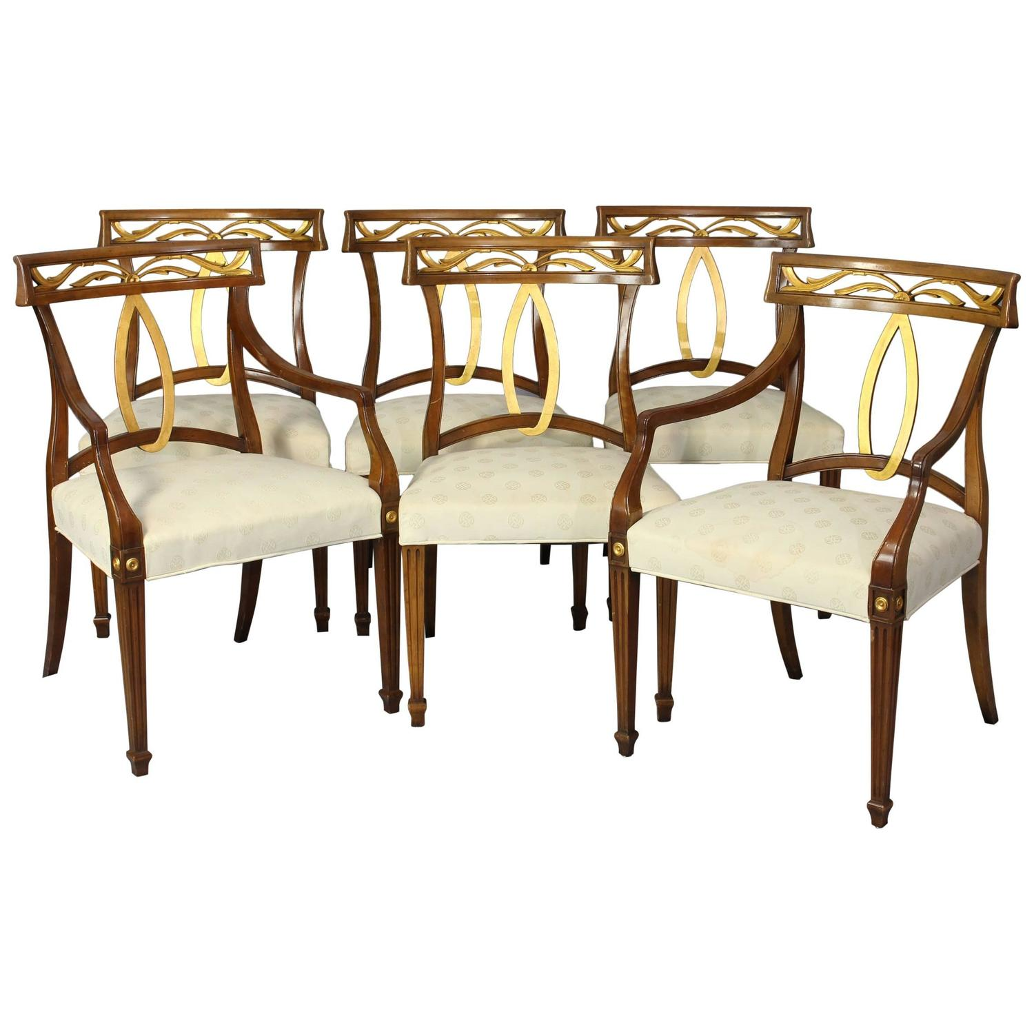 Italian Dining Chairs Set Of Six Midcentury Italian Neoclassical Style Dining