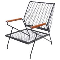 Mid Century Modern Red Wood and Wrought Iron Outdoor ...