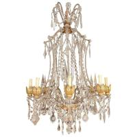 Italian Crystal and Wood Chandelier at 1stdibs