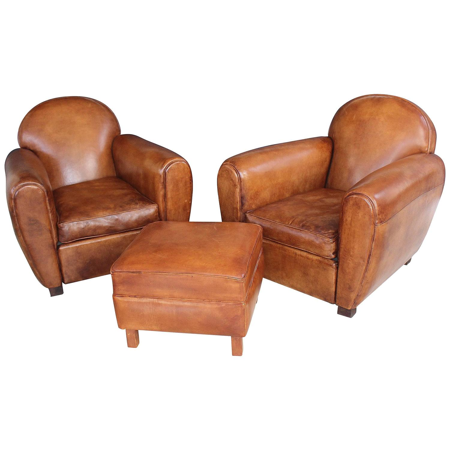 French Club Chair Pair Of New French Leather Club Chairs With Ottoman At 1stdibs