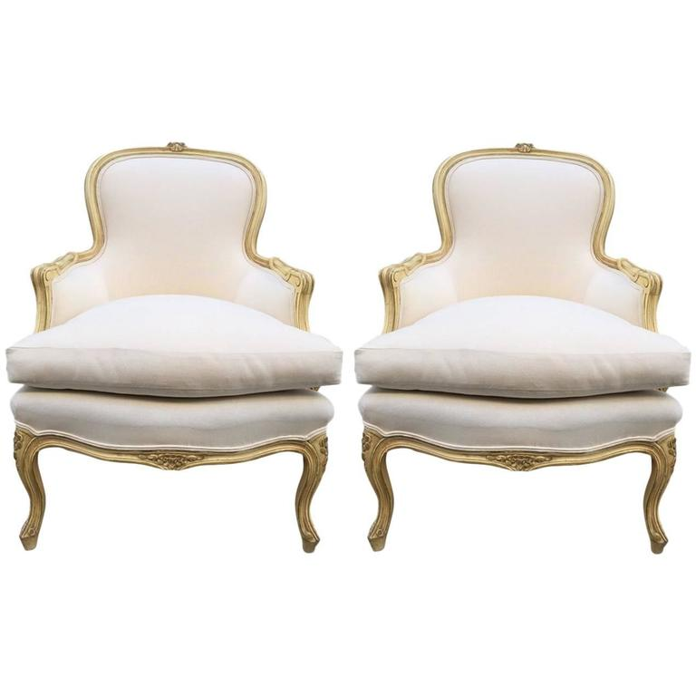 bergere chairs for sale upholstered stacking pair of french louis xv style at 1stdibs