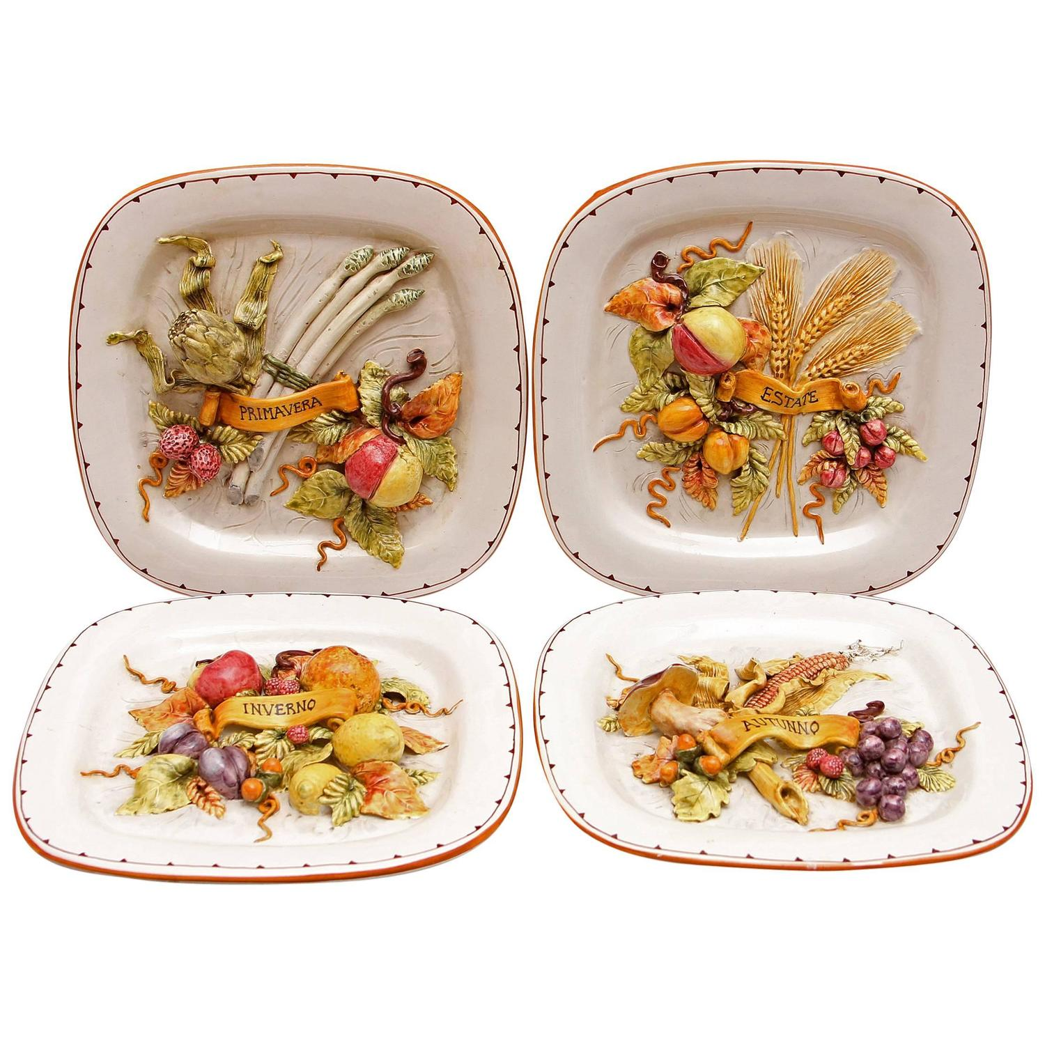 Four Seasons Italian Majolica Plaques At 1stdibs