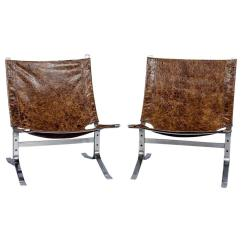 Leather Sling Chairs Chair Covers Pets Pair Of Mid Century Modern In Distressed