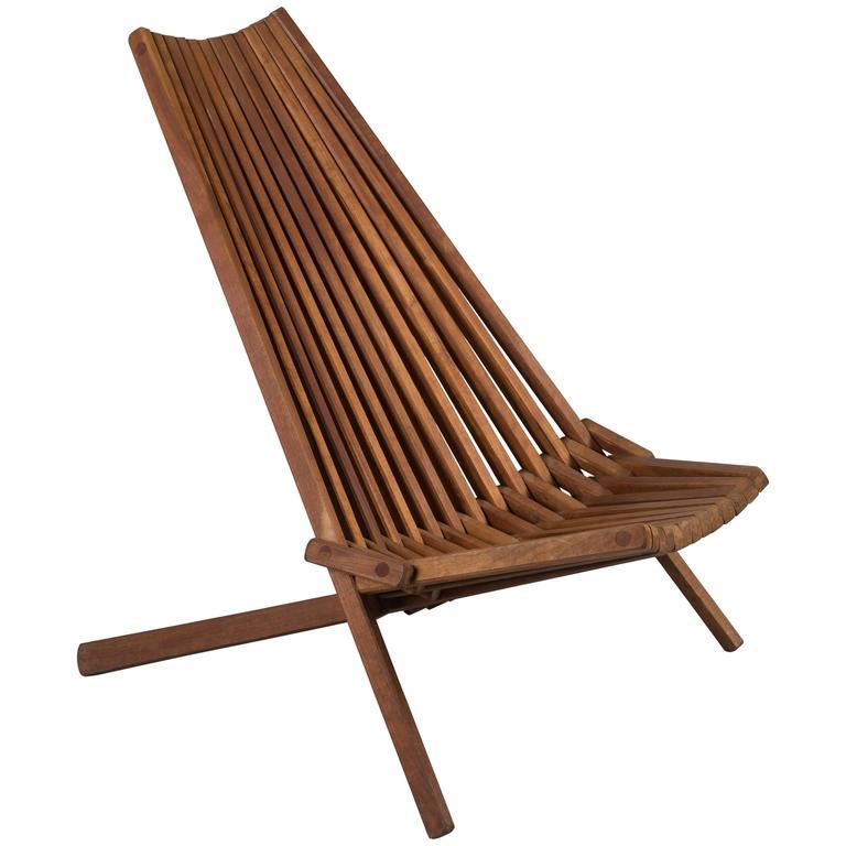 MidCentury Teak Folding Chair at 1stdibs