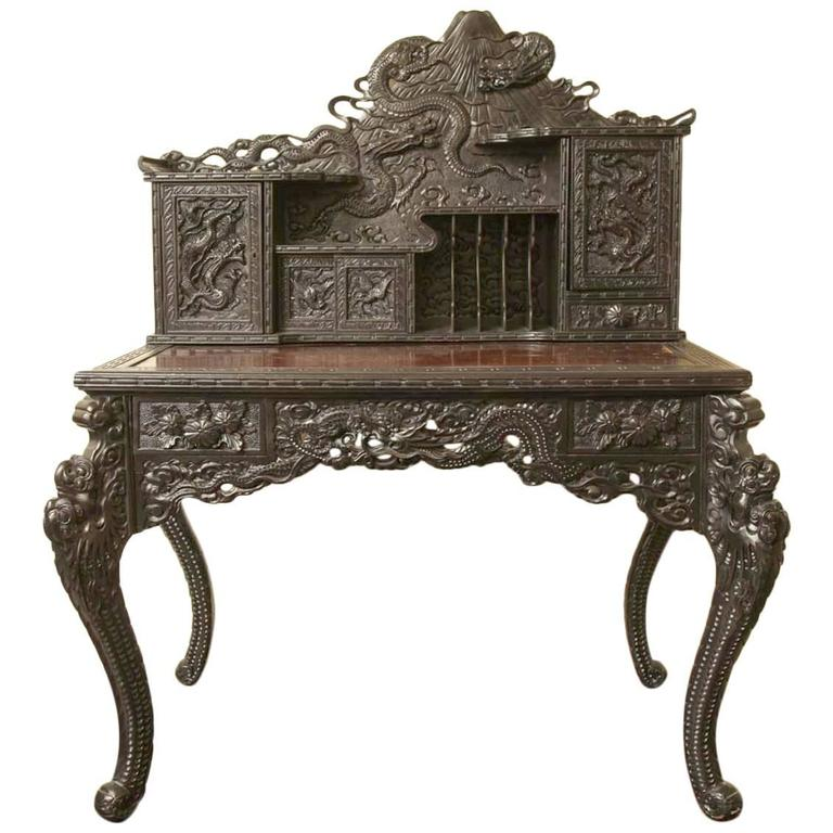 antique chinese dragon chair wood toddler table and chairs 19th century japanese export hardwood desk at 1stdibs