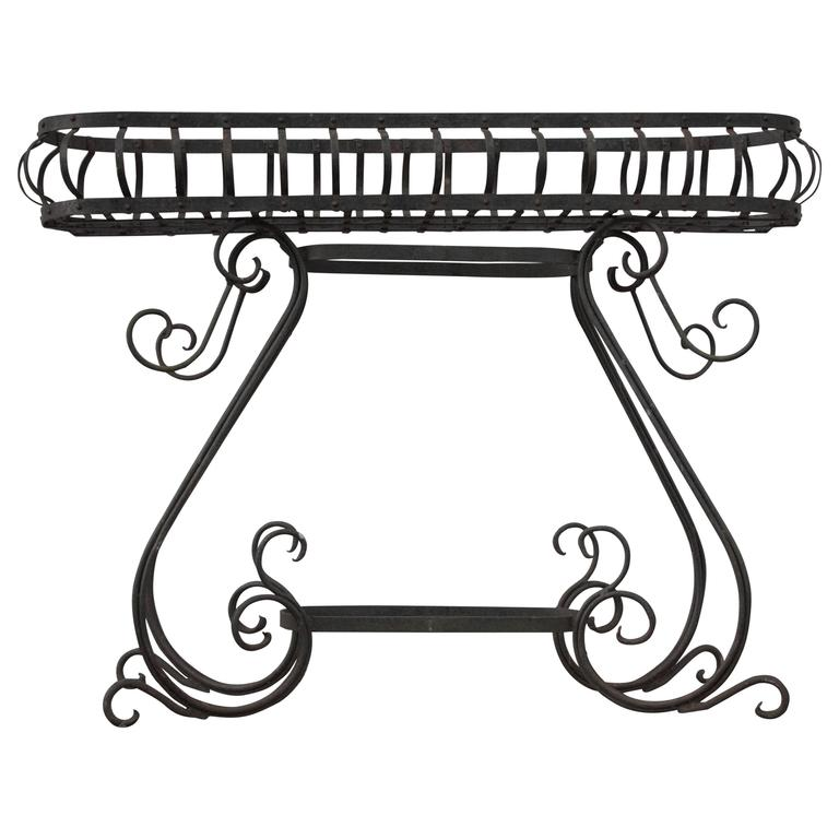 Antique French 1900s Elevated Wireframe Cast Iron Planter
