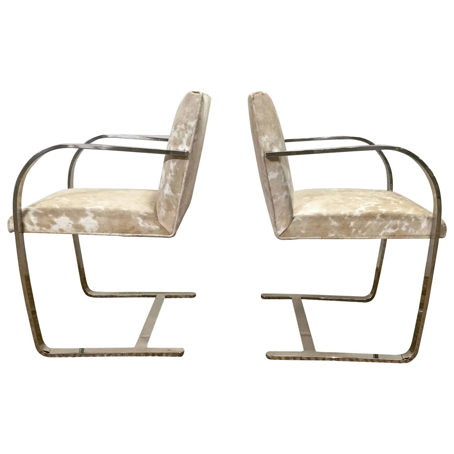 cowhide chairs nz active sitting chair canada pair of brno by mies van der rohe for knoll in