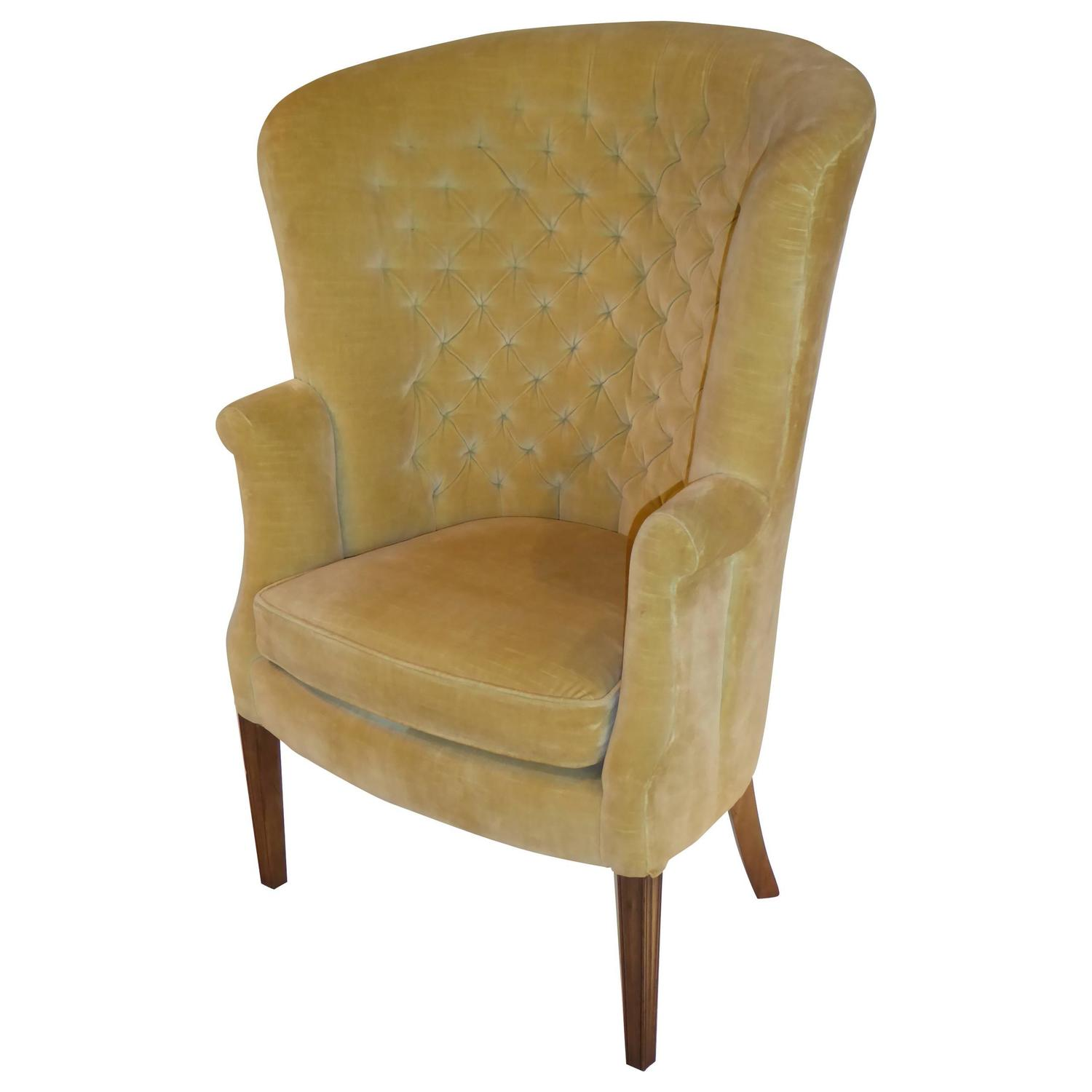 Architectural High Back Tufted Velvet Wingback Chair For