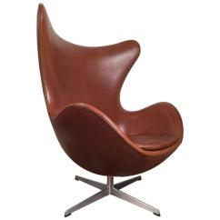Jacobsen Egg Chair Leather Cushion For Early Arne In Original Brown By Fritz Hansen Sale